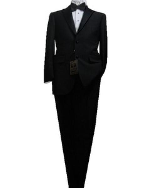 SKU#KD9898 Fitted Tailored Slim Cut 2 Button Solid Black Mens Tailcoat Tuxedo $175