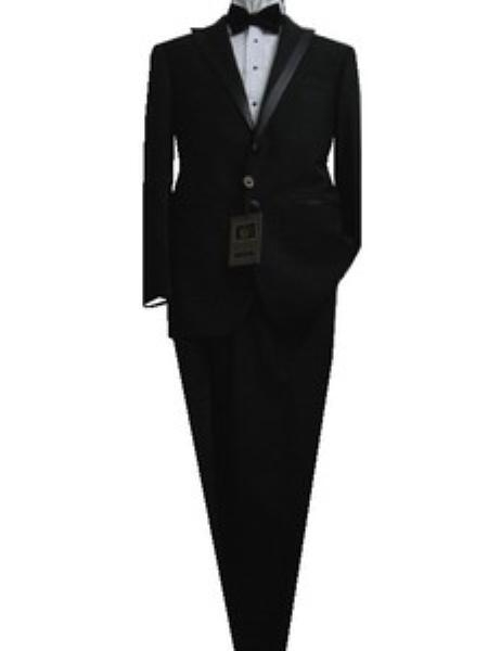 SKU#VB8564 Fitted Tailored Slim Cut 2 Button Solid Black Modern Lapel Mens Tuxedo $175