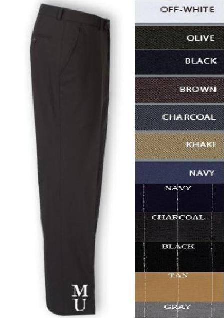 SKU# ISL845 FLAT FRONT No Pleat MENS WOOL DRESS PANTS HAND MADE RELAX FIT $89