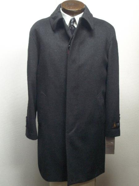 "SKU#Car coat 35"" four button  fly front coat with set-in sleeves slash pocket Wool&Cashmere $199"