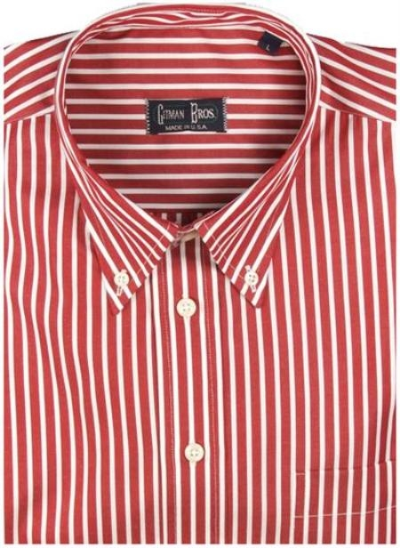 Gitman Sport Reverse Ground Stripes Red On Sale: $115
