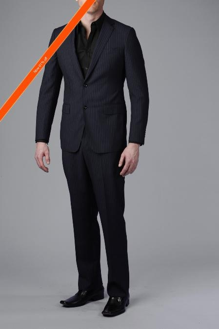 SKU#NV8200 Gorgeous Navy Beaded Stripe 2-Button Slim Fitted Suit $369