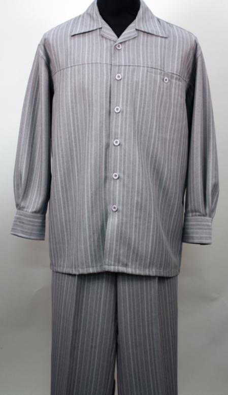 SKU#YM8119 Gray 2 Pc Long Sleeve Shirt and Pants Set $115
