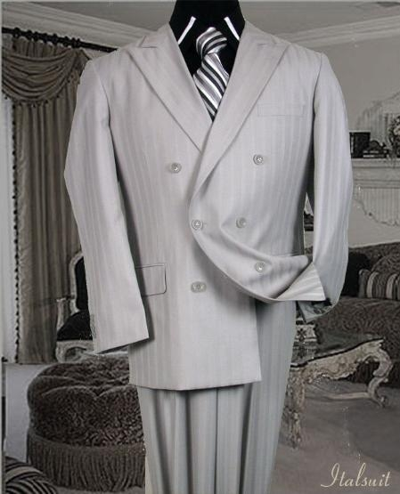 SKU#BF4343 Gray Classic Double Breasted Mens Suit with Tone on Tone Stripe $179
