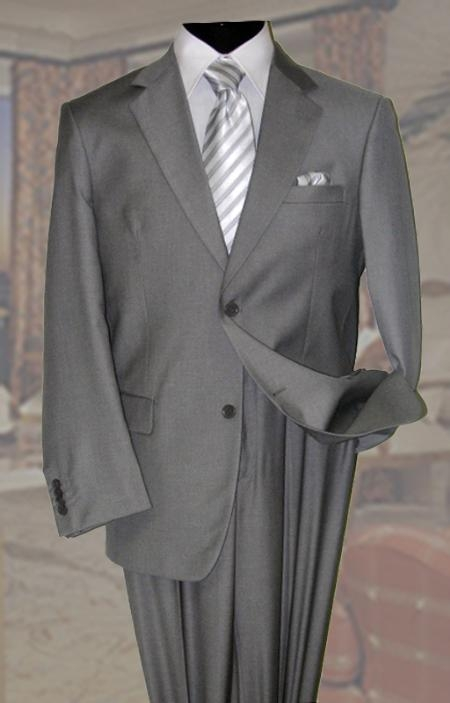 SKU#AV2939 Gray Mens Wool Suit 2 Button 2pc Super 150s With Hand Pick Stitching on Lapel