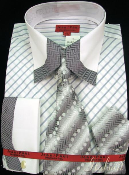 SKU#BE3343 Gray Shirt Tie and Hankie Set $65