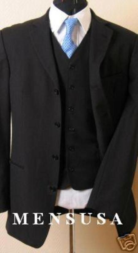 SKU# 427 High Fashion Black 4 Buttons Vested Super 140s Wool Dress Suit $229