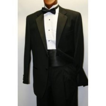 SKU# NHM216  High Quality Umo 2-Button Super 120s Wool Tuxedo + Shirt + Bow Tie + Cummerbund and Bowtie Set $239