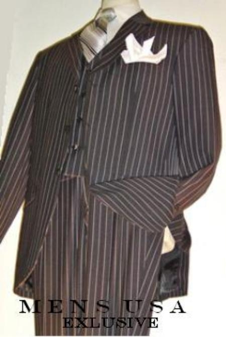 SKU# EHS329 Highest Quality Jet Liquid Black Pinstripe Vested three piece suit Super 120s 100% Wool Feel Extra Fine Poly~Rayon $149