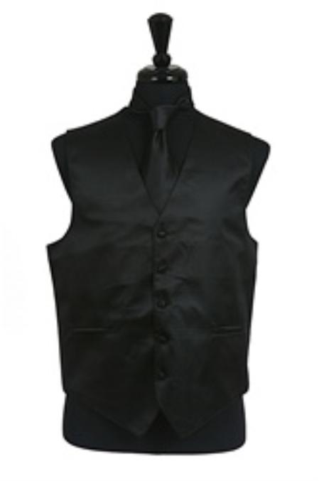 SKU#VS2010 Horizontal Rib Pattern Vest Tie Set Black