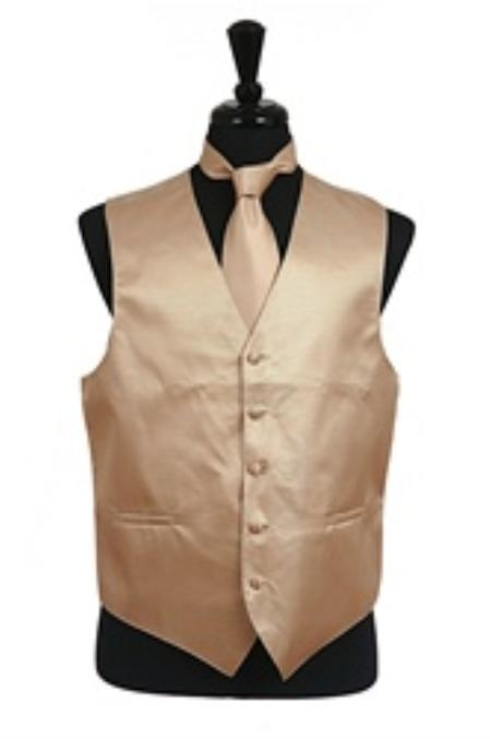 SKU#VS2024 Horizontal Rib Pattern Vest Tie Set Cream