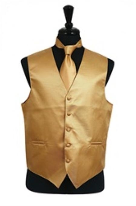 SKU#VS2028 Horizontal Rib Pattern Vest Tie Set Gold $49
