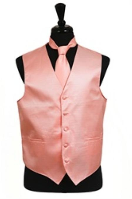 SKU#VS2030 Horizontal Rib Pattern Vest Tie Set Peach