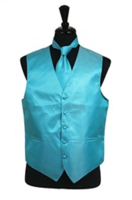 SKU#VS2032 Horizontal Rib Pattern Vest Tie Set turquoise ~ Light Blue Stage Party