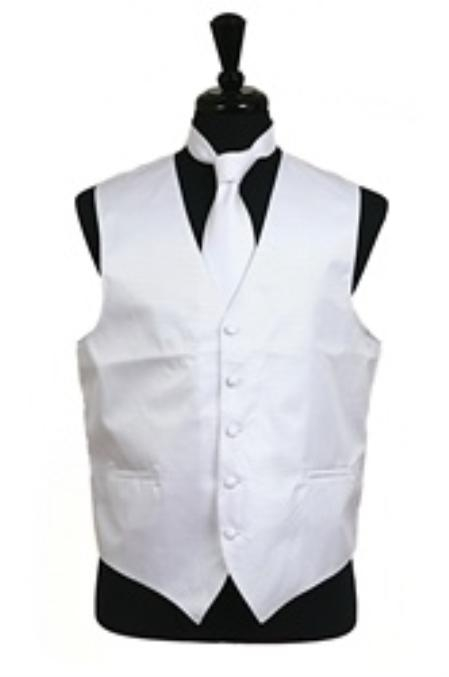 SKU#VS2012 Horizontal Rib Pattern Vest Tie Set White