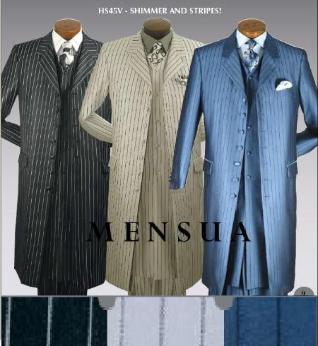 SKU# DTH969 HS45V Mens 3 Piece 45 Inch Jacket Suit with a Long 43 Inch Vest