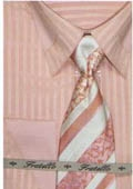 SKU#RF742 65% Poly Men's french cuff shirt patched on collar Peach $65