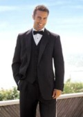 SKU# B-VP1 1 Button Plain Soft 3 Pieces Vested Tuxedo Super 150's Wool Suit + Tuxedo Shirt $195