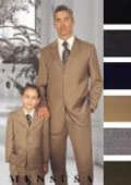 SKU# GTD438 1 Men + 1 Boy MATCHING SET FOR BOTH FATHER AND SON 3 Button WOOL SUIT $289