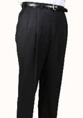 SKU#BR6964 100% Worsted Wool Black, Parker, Pleated Pants Lined Trousers $99