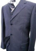SKU#MU-28 Navy Blue Stripe 3 Piece Suit • 3 Button Jacket • Side Vents • Vest • Pleated Pant • Tailo