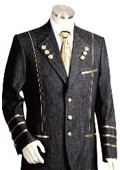 Button Black Mens Suit