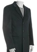 SKU#DUMO33 38 inch Three-button notched lapel  navy blue Wool-Blend 3-button overcoat $139
