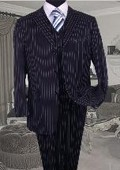 SKU: SKU3518 TS-35 3PC 3 BUTTON COLOR NAVY BLUE VESTED MENS SUIT WITH PINSTRIPE $159