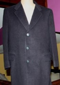 SKU#Sentry3310 45 Inch Navy Blue classic model features button front Wool&Cashmere $149