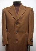 SKU#Sentry 45 Inch TOBACCO~Copper~Rust classic model features button front Wool&Cashmere $195