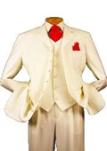 SKU#M73PP 7 Button High Vest Color Solid Ivory~Cream OFF White 38 Inch Long Jacket Fashion Long Suit