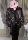 SKU# PTX721 BLACK- PINK STRIP 3PC WIDE PINSTRIP FASHION ZOOT SUIT