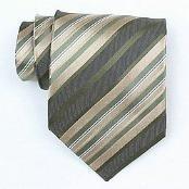 Silk Green/Grey/Beige/White Woven Necktie