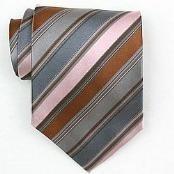 Silk Pink/Grey/Brown Woven Necktie