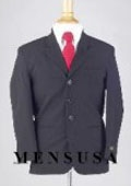 SKU# BMU3 Boys Solid Navy Blue Suits 3 Buttons Light Weight Soft Fabric Suit $79