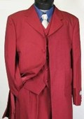 SKU#T758 BURGUNDY FASHION ZOOT SUIT 38'INCH LONG JACKET WITH COVERED BUTTON $99