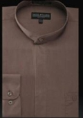 Banded Collar Shirt Taupe