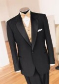 SKU# GT-3K Beautiful Design  (5 Pieaces) One Button Super 150 Wool  + Shirt + Bow Tie + Vest $199