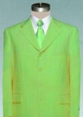 Mens lime mint Green ~ Apple ~ Neon Bright Green Pastel Dress With Nice Cut Smooth Soft Fabric (Available in 3 Button Style Jacket + Pants) $139