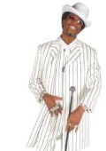 SKU#ZT-N909 Beautiful Men's Vested White & Bold Black Pinstripe Gangester Zoot Suit $119