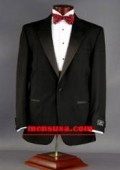 SKU# ZT19 Black One Button Notch Lapel Super 120's Wool Mens Tuxedo+ Shirt + Bow tie $165