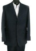 3 Button Black Pinstripe