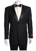 SKU#JN522 Black 2 Button Wool Tuxedo Non Pleated Pants $149