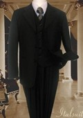 SKU#CE1944 Black 3PC Solid Suit With Vest For Kids $99