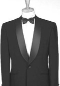 SKU#Y713GA Black Dinner Jacket 100% Poly 1 Button Shawl Collar $139