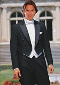 SKU#TB8811 Black Full Dress Classic Six Button Peak Lapel Tailcoat $169