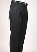 SKU#PQ6396 Black Pinstripe Bond Flat Front Trouser $99