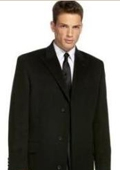 SKU#Coat777 Black Slim overcoat that offers a sleek, modern style. $109