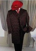 SKU#GS731 Black W/Red Pinstripe & Bold Pronounce 3PC Fashion Zoot Suit $169