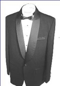 SKU#SH712 Black single button, shawl collar tuxedo jacket and pants with besom pocket $79